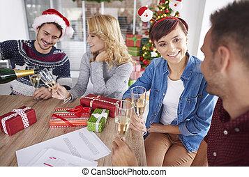 祝う, 労働者, クリスマス, クルー