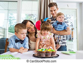 祝う, 女の子, birthday, 家族