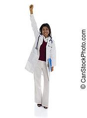 祝う, 女性の医者, アメリカ人, 背景, 隔離された, アフリカ, 成功, 白