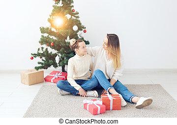 祝う, 家肖像画, -, 概念, イブ, 単一 母, クリスマス, 親, ホリデー