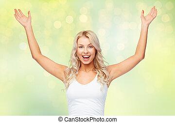 祝う, 幸せな女性, 勝利, 若い