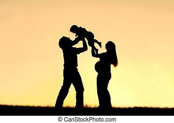 祝う, 幸せな家族, 妊娠, シルエット