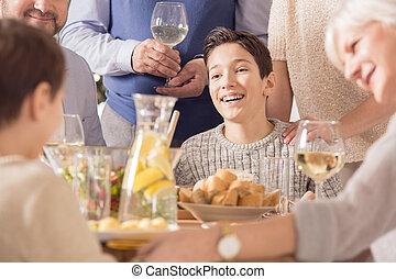 祝う, 幸せな家族, 男の子