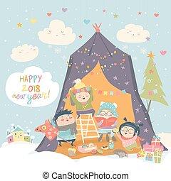 祝う, 幸せ, 子供, クリスマス