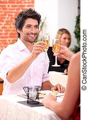 祝う, 恋人, レストラン
