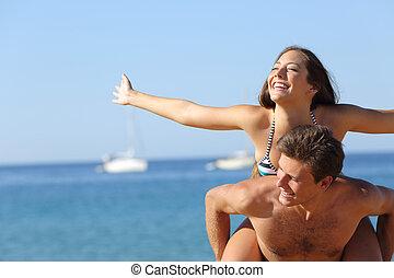 祝う, 恋人, 浜の 休暇, 幸せ