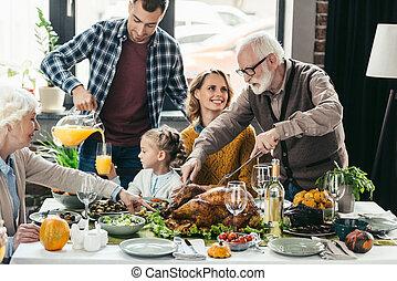 祝う, 感謝祭, 家族 日