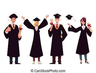 祝う, 成功した, 卒業の帽子, 伝統的である, 生徒, ガウン