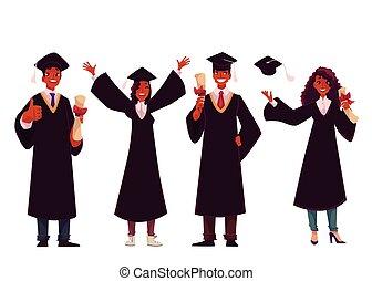 祝う, 成功した, 卒業の帽子, 伝統的である, 生徒, 黒, ガウン