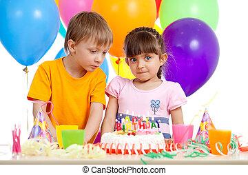 祝う, birthday, 愛らしい, 子供, パーティー