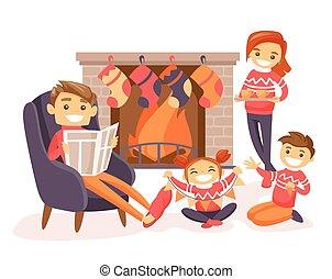 祝う, fireplace., クリスマス, 家族