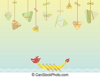 祝祭, デザイン, ボート, イラスト, ドラゴン