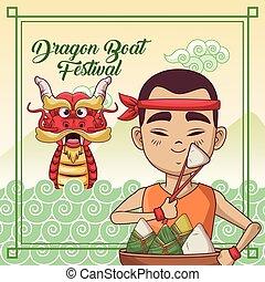 祝祭, デザイン, 漫画, ボート, ドラゴン