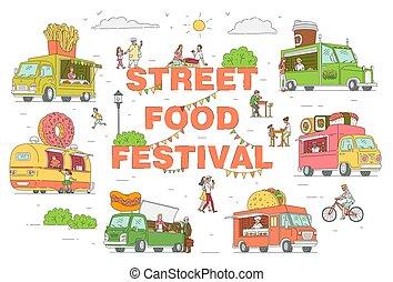 祝祭, ベクトル, トラック, セット, 通り, スケッチ, イラスト, isolated., 漫画, 食物
