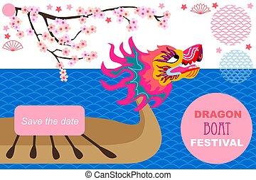 祝祭, ボート, アジア, ドラゴン