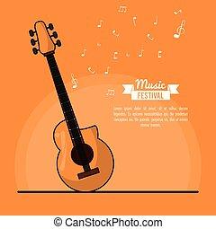祝祭, ポスター, ギター, 音楽, 背景, オレンジ, 音響