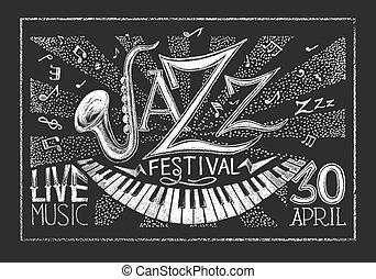 祝祭, ポスター, ジャズ, 黒板