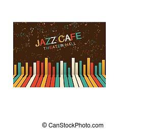 祝祭, ポスター, ジャズ, color., 芸術的, 背景, 夜