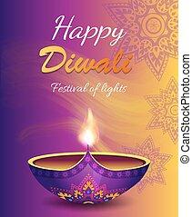 祝祭, ライト, diwali, イラスト, ベクトル, 幸せ