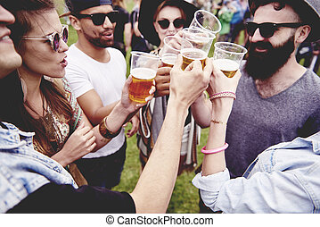 祝祭, 友人, ビール, グループ, 飲むこと