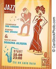 祝祭, 型, ジャズ 音楽, ポスター