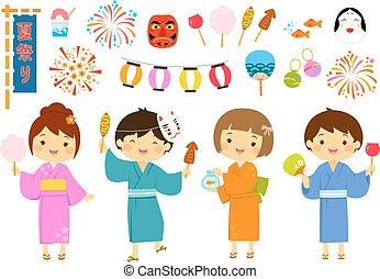 祝祭, 夏, セット, 日本語