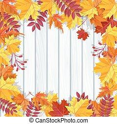 祝祭, 招待, leaves., イラスト, 秋, バックグラウンド。, ベクトル, 秋, 旗