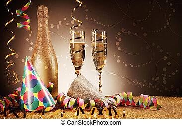 祝祭, 概念, ワイン, -, 吹流し, 帽子, パーティー