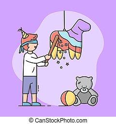 祝福, style., concept., blindfold., 男の子, イラスト, pinata, 壊れた, 漫画, 線である, パーティー, ベクトル, アウトライン, 幸せ, コウモリ, 祝う, 平ら, 行く, 微笑, 子供, birthday, holiday.