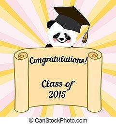 祝賀, 字, 問候, 畢業生, 熊貓, 卡片