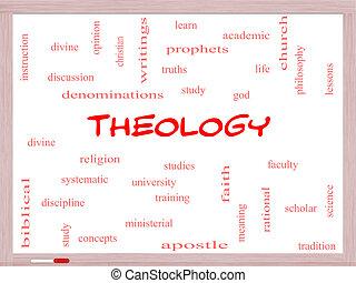 神学, 概念, 単語, 雲, whiteboard