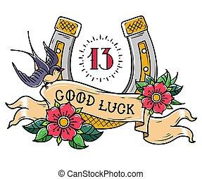 神秘主義である, 入れ墨, 13, よい, 金文字, 数, 馬蹄, ツバメ, ばら, luck., リボン