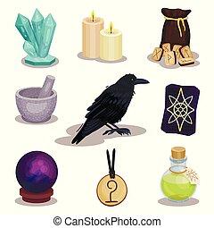 神秘主義である, 平ら, セット, マジック, アイコン, 木製である, items., theme., 関係した, runes, 球, ベクトル, 蝋燭, tarot, ワタリガラス, カード, 予言