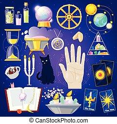 神秘主義である, 幸運, セット, 幸運言うこと, 蝋燭, 隔離された, イラスト, 幸運, 言うこと, ベクトル, 背景, サイン, カード, マジック, 手品師, ∥あるいは∥, 占星術