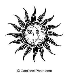 神秘主義者, 顔, 月, 太陽