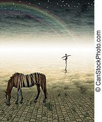 神秘的, 馬, 非現実的, 風景