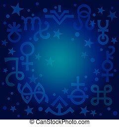 神秘的, symbols), 天, 王冠, 青写真, pattern., 神秘主義である, 占星である, サイン, (astrological