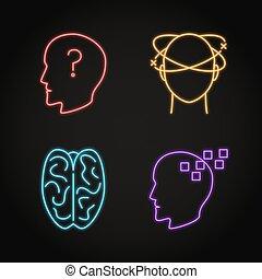 神経である, 概念アイコン, 問題, ネオン, セット