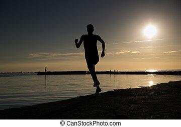 神経質である, 夕方, スポーツマン, 作成, 浜, 動き