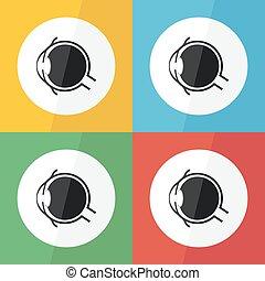 神経, 概念, 解剖学, 角膜, 角膜炎, pinguecula, デザイン, 目, pterygium, ), (, 結膜炎, アイコン, 平ら, レンズ, ガラス状である, ユーモア, 心配, アイリス, 緑内障, 病気, 結膜, 生徒, etc), 激流