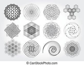 神聖, シンボル, 幾何学, 要素, set.