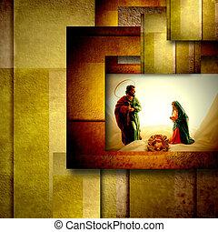 神聖, 家族, カード, クリスマス