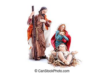 神聖, 家族, 現場, 隔離された, nativity, 背景, 白い クリスマス