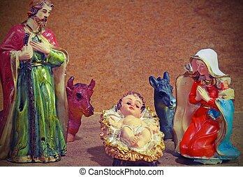神聖, 家族, 農場, クリスマス, 動物, 伝統