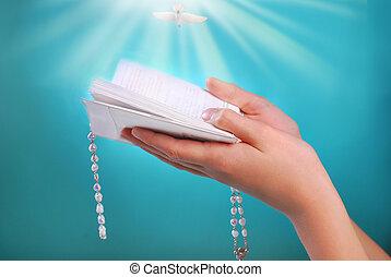 神聖, 手, 本, 聖餐, 祈とう, 最初に
