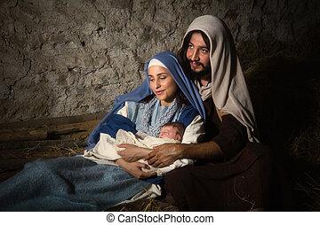 神聖, 現場, nativity, 親