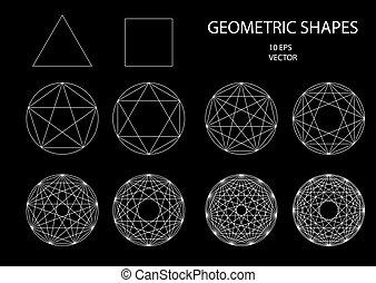 神聖, geometry., drawing.