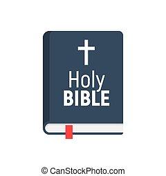 神聖, icon., 隔離された, ベクトル, 平ら, 教会, 本, pictogram, デザイン, 聖書, ロゴ