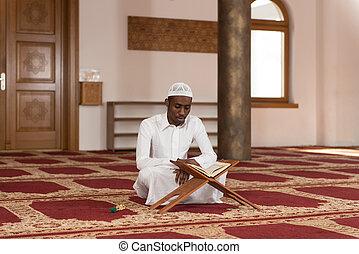 神聖, muslim, コーラン, イスラム教, 本, アフリカ, 読書, 人