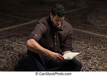 神聖, muslim, コーラン, イスラム教, 本, アラビア, 読書, 人